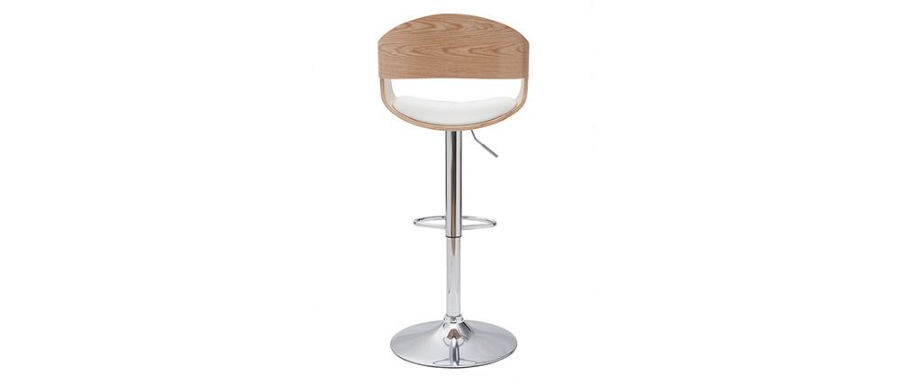 Design-Barhocker EUSTACHE höhenverstellbar weiß und helles Holz