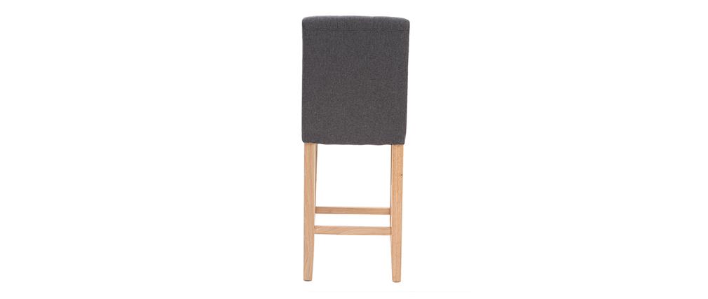 Design-Barhocker gepolstert Dunkelgrau und Holz 65 cm 2er-Set ESTER