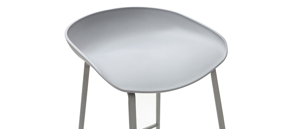 Design-Barhocker Grau mit Metallbeinen (2 Stk.) PEBBLE