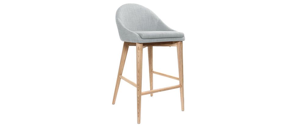 design barhocker holz polyester hellgrau 65 cm dalia miliboo. Black Bedroom Furniture Sets. Home Design Ideas