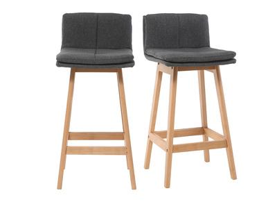 Design-Barhocker Holz und Dunkelgrau 65 cm 2 Stck. JOAN