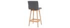 Design-Barhocker Holz und Dunkelgrau 65 cm 2 Stck. KLARIS