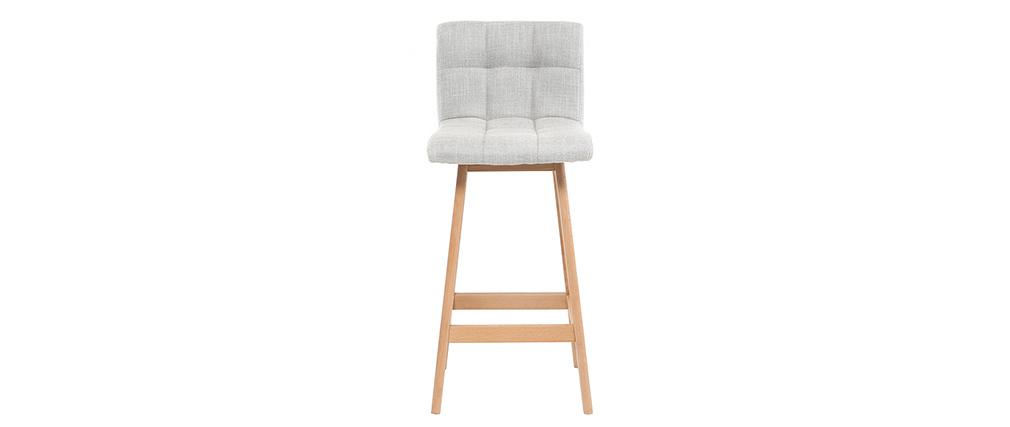 Design-Barhocker Holz und Perlgrau 65 cm 2 Stck. KLARIS