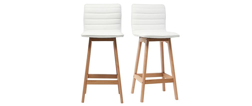 Design-Barhocker Holz und PU Weiß 65 cm 2 Stck. EMMA