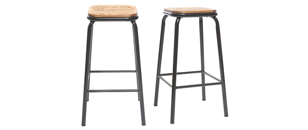 Design-Barhocker Holz und Schwarz 65 cm 2 Stück MEMPHIS