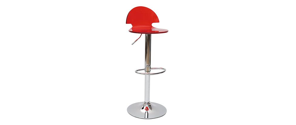 Design-Barhocker / Küchenhocker aus Plexiglas Rot transparent ORION