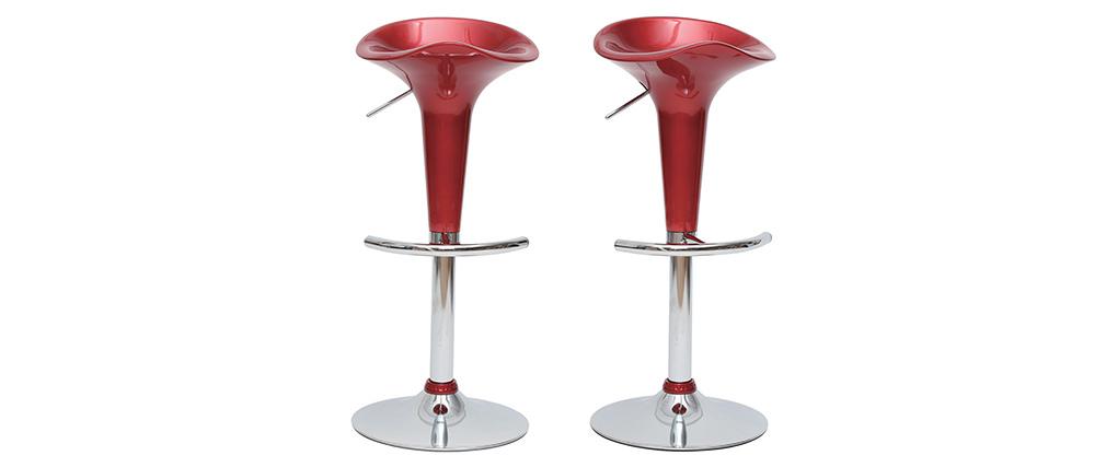 Design-Barhocker / Küchenhocker Weinrot GALAXY (2 Stck.)