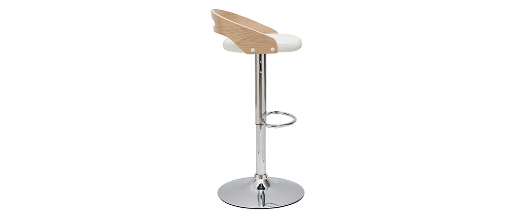 Design-Barhocker MANO höhenverstellbar weiß und helles Holz