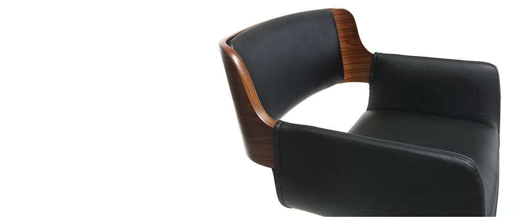 Design-Barhocker PU Schwarz und dunkles Holz RAY