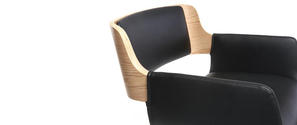 Design-Barhocker PU Schwarz und helles Holz RAY