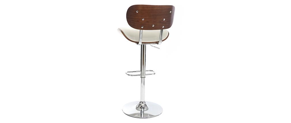 Design-Barhocker PU Weiß und dunkles Holz MARTY