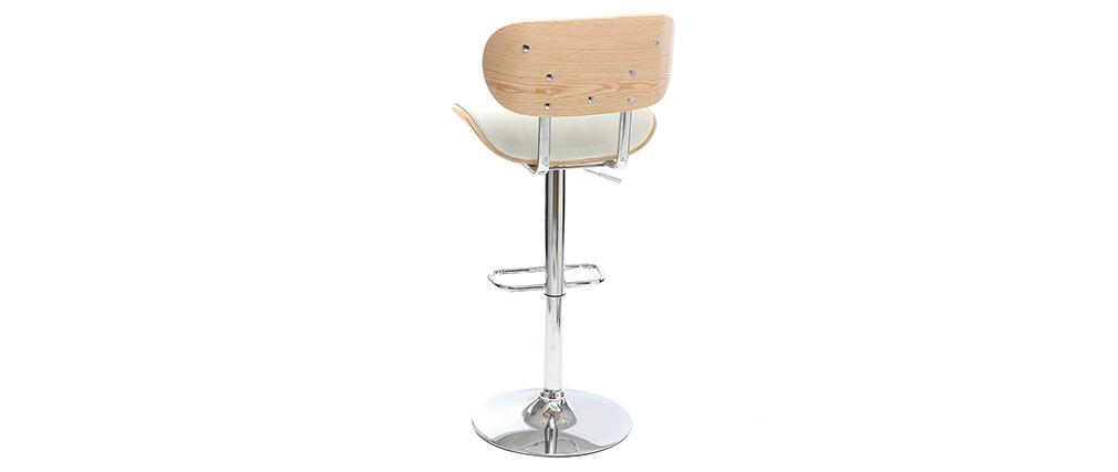 Design-Barhocker PU Weiß und helles Holz MARTY