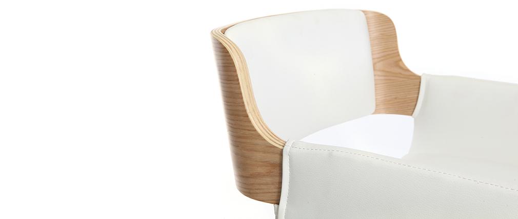 Design-Barhocker PU Weiß und helles Holz RAY