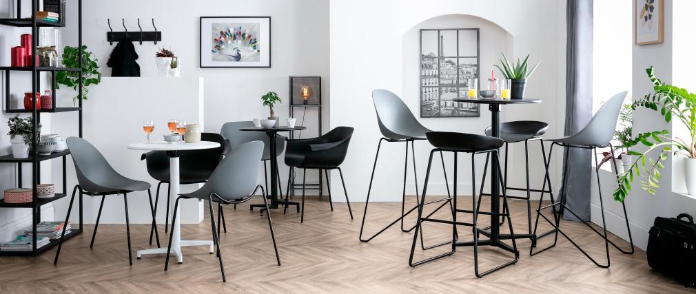 Design-Barhocker Schwarz mit Metallbeinen (2 Stk.) PEBBLE