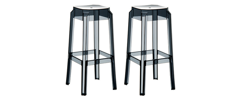 Design-Barhocker Schwarz Transparent 65 cm 2er-Set CLEAR