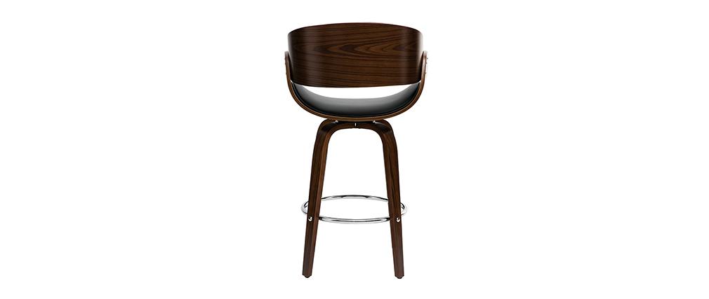 Design-Barhocker Schwarz und dunkles Holz 65 cm BENT