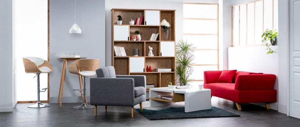 Design-Barhocker Schwarz und helles Holz BENT