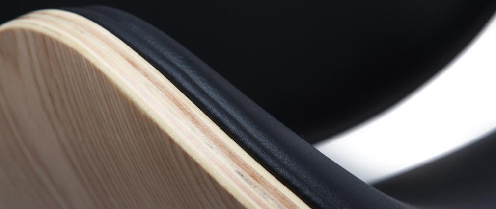 Design-Barhocker Schwarz und helles Holz WALNUT