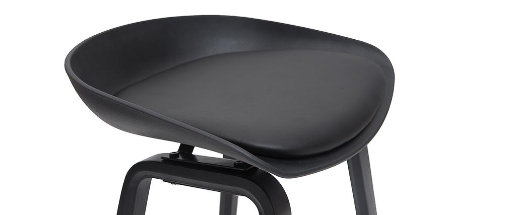 Design-Barhocker schwarz und Holz 65cm (2er-Set) LINO
