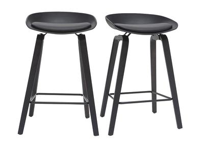Design Barhocker schwarz und Holz 65cm (2er Set) LINO