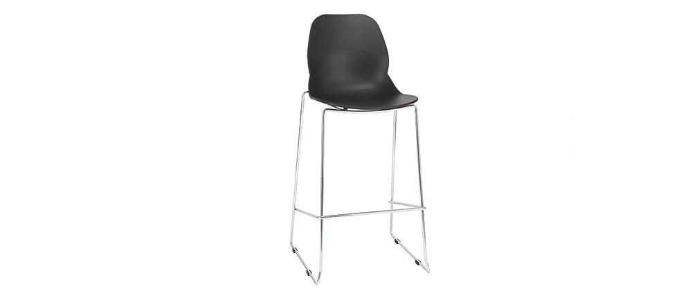 Design-Barhocker stapelbar schwarz 76,5cm - 2er-Satz TROCADERO