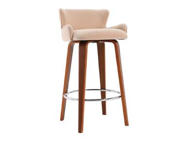 Design-Barhocker Stoff Beige Beine Nussbaum BJORG