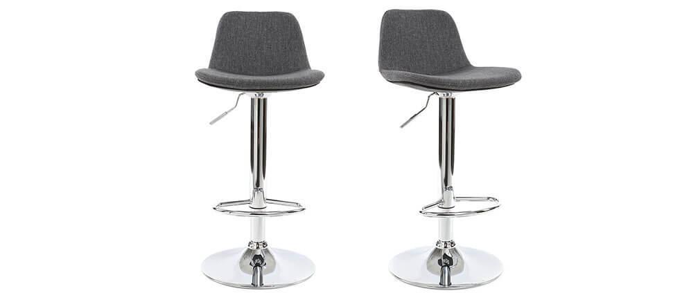 Design-Barhocker Stoff Dunkelgrau 2er-Set ZACK