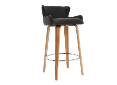 Design-Barhocker Stoff Grau Beine Eschenholz BJORG