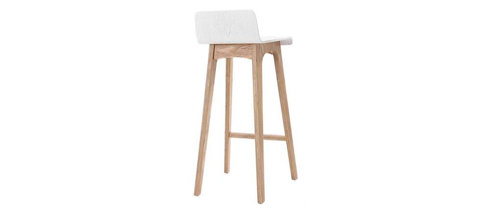 Design-Barhocker / -stuhl Holz naturfarben und Weiß skandinavisch BALTIK