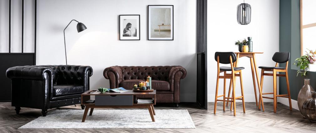 Design-Barhocker / -stuhl Schwarz und Holz Naturfarben NORDECO