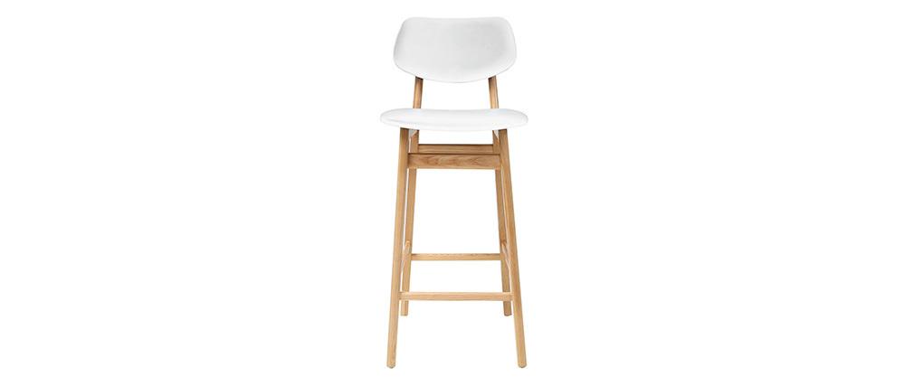 Design-Barhocker / -stuhl Weiß und Holz Naturfarben NORDECO