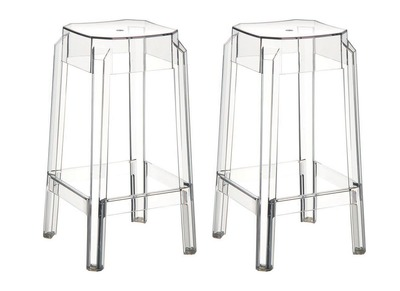 Design-Barhocker Transparent 75 cm 2er-Set CLEAR