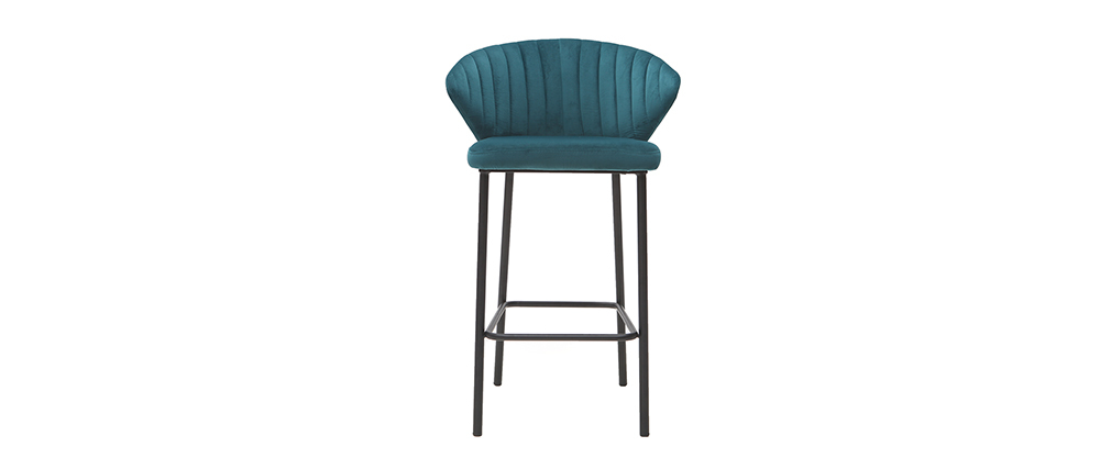 Design-Barhocker Velours Blau Ø 65 cm DALLY