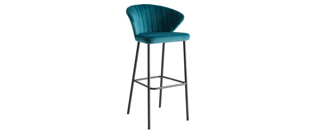 Design-Barhocker Velours Petrolblau Ø 75 cm DALLY