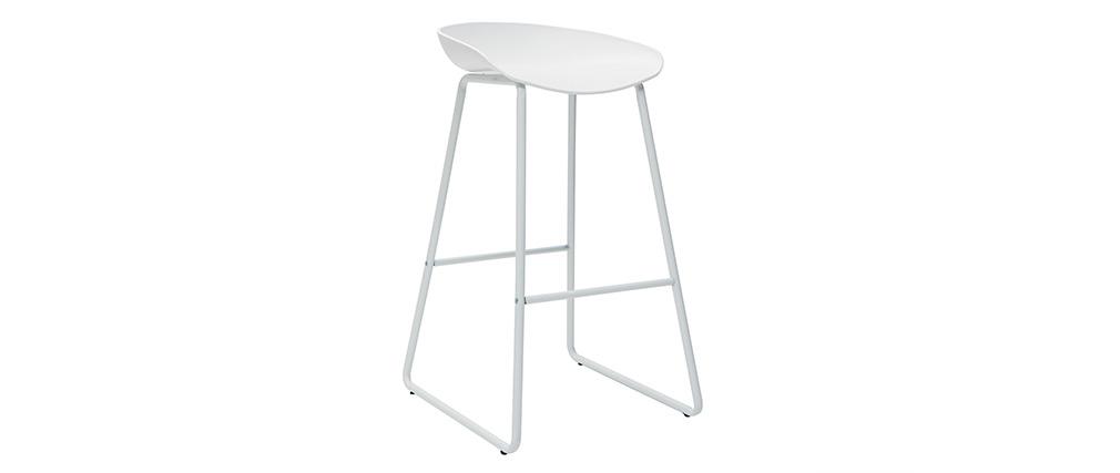 Design-Barhocker Weiß mit Metallbeinen (2 Stk.) PEBBLE