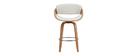Design-Barhocker Weiß und helles Holz 65 cm BENT