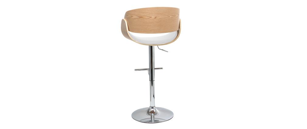 Design-Barhocker Weiß und helles Holz BENT