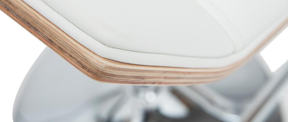 Design-Barhocker weiß und helles Holz MELKIOR