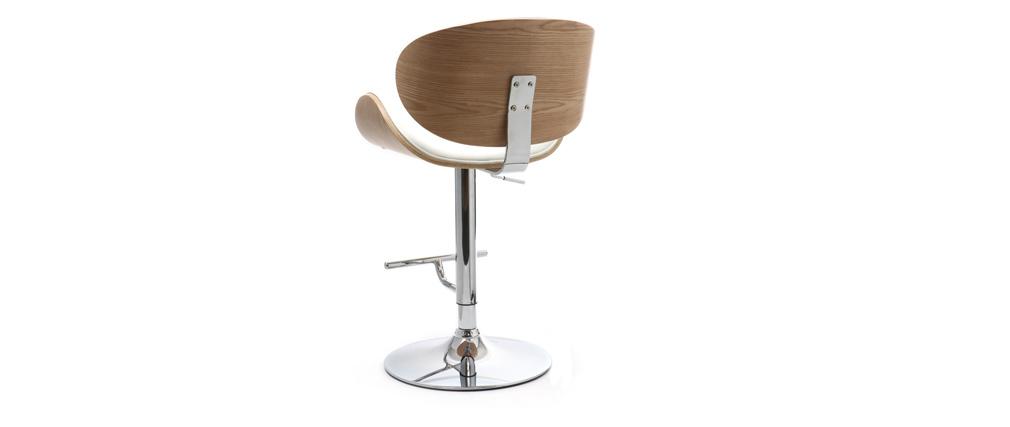 Design-Barhocker Weiß und helles Holz WALNUT