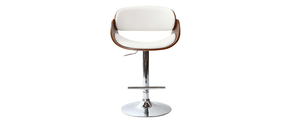 Design-Barhocker Weiß und Holz DIOS