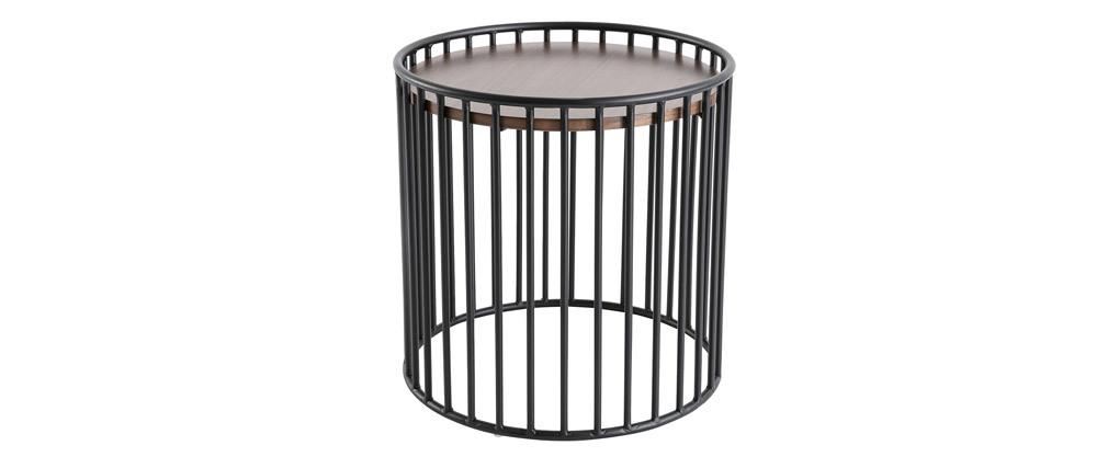 Design-Beistelltisch rund dunkles Holz und Metall HARP