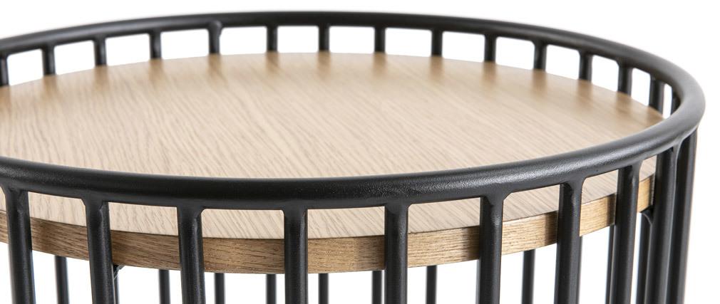 Design-Beistelltisch rund helles Holz und Metall HARP