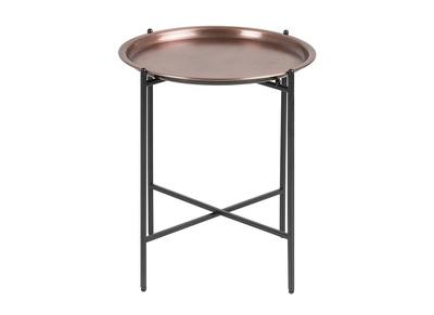 Design-Beistelltisch rund Metall Kupferfarben LUZ