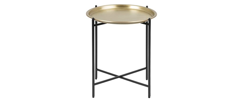 Design-Beistelltisch rund Metall vergoldet LUZ