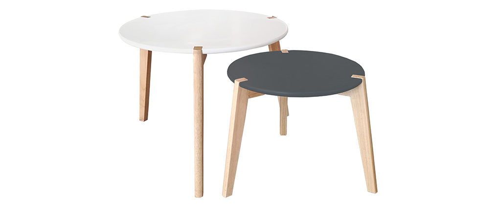 Design-Beistelltische grau und weiß mit Tischbeinen aus hellem Holz 2er-Satz KOBE