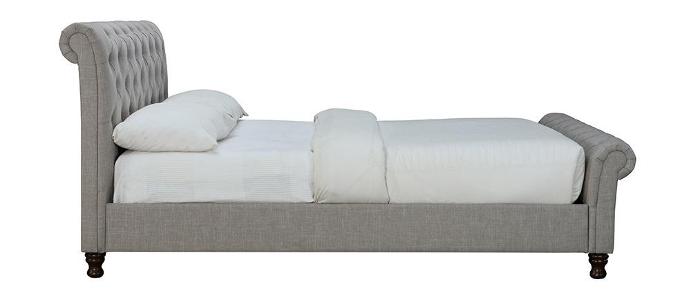 Design-Bett 2 Personen 160 cm x 200 cm Leinen Grau RILEY