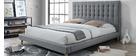 Design-Bett gepolstert Stoff Grau und Holz 140 x 200 cm SOREN