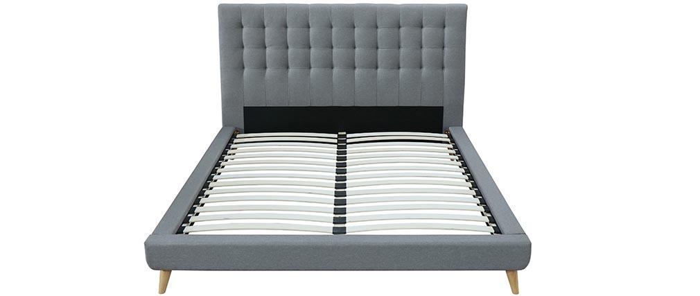 Design Bett Gepolstert Stoff Grau Und Holz 160 X 200 Cm SOREN