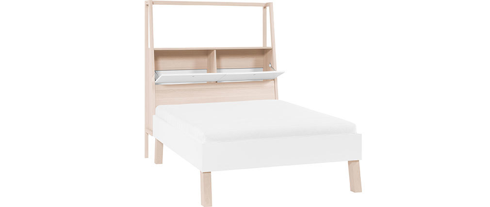 Design-Bett mit Stauraum 160x200 cm Holz und Weiß EASY