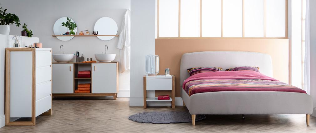 Design-Bett Stoff Grau und Holz 140 x 200 cm NIELS